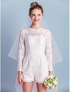 Lanting Bride® Sheath / Column Wedding Dress Short / Mini Jewel Lace with Bow / Pocket / Sash / Ribbon