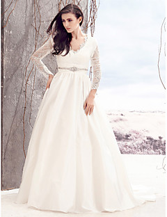 Lanting Bride A-line Wedding Dress-Court Train V-neck Lace / Taffeta