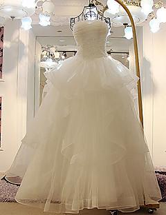 A 라인 웨딩 드레스 - 아이보리 바닥 길이 끈이 얇은 명주 그물