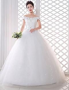 Linea-A Abito da sposa Lungo Drappeggiata Di pizzo / Raso con Fiore decorativo / Di pizzo