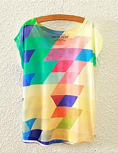 Blomma Kortärmad T-shirt Kvinnors Rund hals Bomull