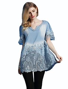 Mulheres Blusa Casual Plus Sizes / Moda de Rua Primavera,Bordado Azul Algodão Decote V Sem Manga Média