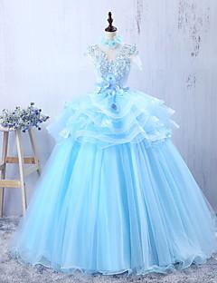 Serata formale Vestito Linea-A Con decorazione gioiello Lungo Tulle con Con applique