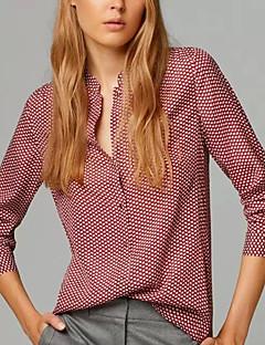 Vrouwen Eenvoudig / Street chic Alle seizoenen Overhemd,Casual/Dagelijks Print Opstaand Lange mouw Rood Katoen / Polyester Dun