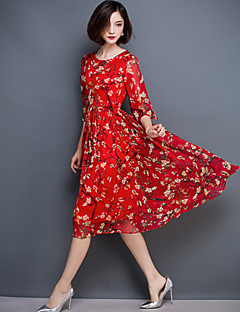 Women's Sexy Floral Plus Size / Swing Dress , Round Neck Knee-length Silk