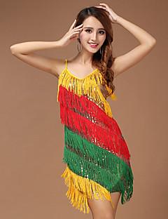 Performance Dresses Women's Performance Polyester Paillettes / Tassel(s) 1 Piece Multi-color Latin Dance Backless Sleeveless Dress