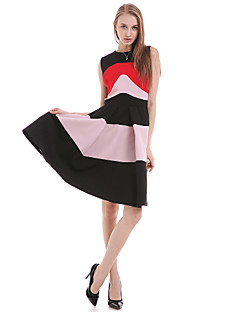 Women's Casual/Daily Simple A Line Dress,Striped Round Neck Above Knee Sleeveless Red / Green Cotton / Polyester Summer