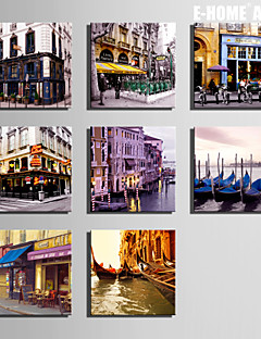 E-HOME® Stretched Canvas Art City Scenery Series Decoration Painting MINI SIZE One Pcs