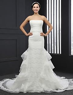 Trumpet / Mermaid Wedding Dress Chapel Train Strapless Lace with Sash / Ribbon