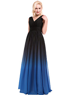 Prom / Formal Evening Dress Ball Gown V-neck Floor-length Chiffon / Charmeuse with Beading / Draping / Sash / Ribbon / Side Draping