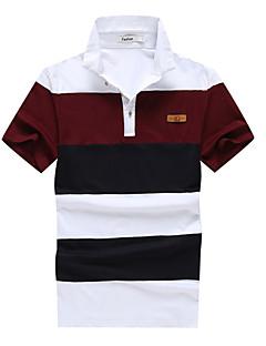 男性用 半袖 ポロシャツ,コットン / ポリエステル カジュアル / オフィス / フォーマル / スポーツ / プラスサイズ ストライプ