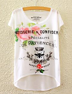 Mulheres Camiseta Esportivo Fofo / Activo Todas as Estações,Floral Colorido Algodão Decote Redondo Manga Curta Média