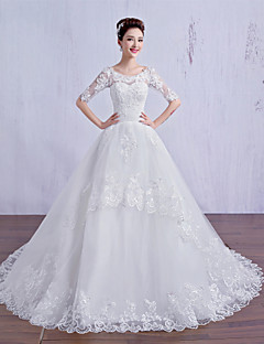 Ball Gown Wedding Dress Court Train Scoop Tulle with Lace / Beading