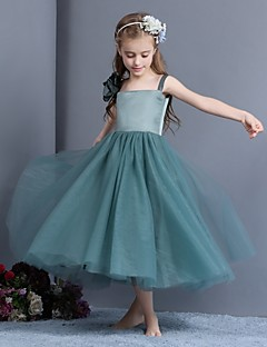 Sheath / Column Tea-length Flower Girl Dress - Tulle / Charmeuse Sleeveless Spaghetti Straps with