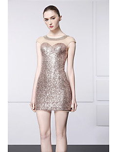 Cocktail Party Dress - Champagne Sheath/Column Jewel Short/Mini Satin / Sequined