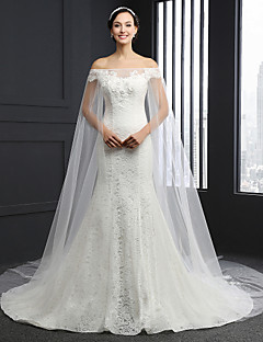 Sheath / Column Wedding Dress Chapel Train Strapless Lace with Beading