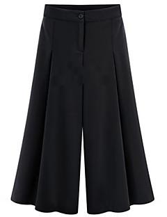 婦人向け プラスサイズ / カジュアル ワイドレッグ パンツ , ポリエステル 伸縮性なし
