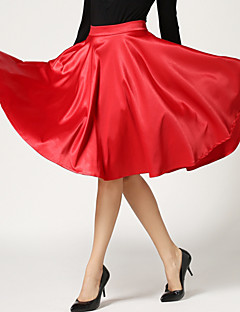 Women's Solid Red / Black / Green / Purple Swing Skirts , Holiday High Waist Pleated Slim Fashion Polyester