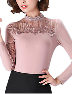 Spring Plus Size Women's Embroidered Lace Splice Gauze Stand Collar Long Sleeve Slim T-Shirt Tops Blouse