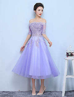 Formal Evening Dress-Lilac A-line Bateau Tea-length Tulle