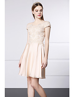 Cocktail Party Dress A-line Scoop Short / Mini Lace / Satin with Flower(s)
