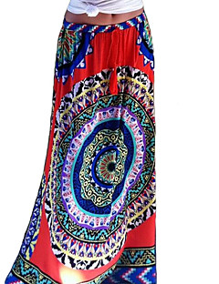 Women's Floral Multi-color Skirts , Boho / Beach Maxi