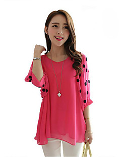 Women's Casual/Daily Plus Size / Street chic Summer Blouse,Patchwork Round Neck Short Sleeve Pink / Black Polyester Translucent