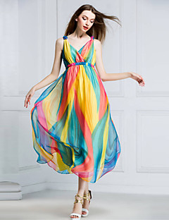 Women's Beach Swing Dress,Rainbow V Neck Midi Sleeveless Multi-color Silk Summer