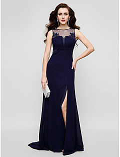 TS Couture® Formal Evening Dress - Beautiful Back Plus Size / Petite Sheath / Column Jewel Floor-length Chiffon / Tulle with Appliques / Beading