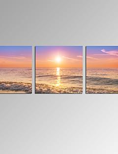 Célèbre / Paysage / Patriotique / Moderne / Romantique Toile Trois Panneaux Prêt à accrocher,Format Horizontal