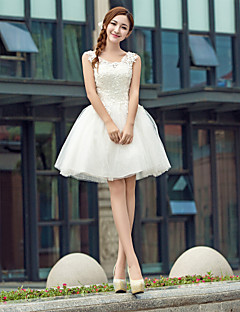 aimibridal Cocktail Party Prom Dress - Mini Me Ball Gown V-neck Knee-length Lace Tulle Stretch Satin Sequined withAppliques Beading