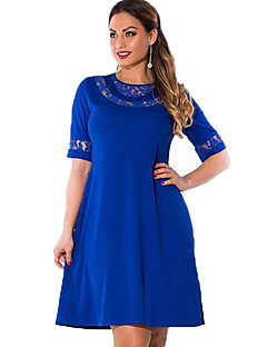 Women's Casual/Daily Plus Size Street chic Shift Dress,Solid Round Neck Knee-length Half Sleeves Rayon Spring Fall Mid Rise