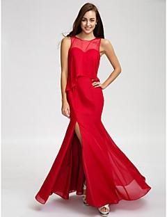 Floor-length Chiffon Bridesmaid Dress Trumpet / Mermaid Jewel with Buttons / Split Front