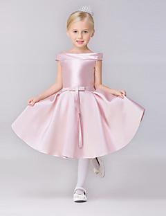 AMGAM A-line Short / Mini Flower Girl Dress - Satin Bateau with Bow(s) Sash / Ribbon