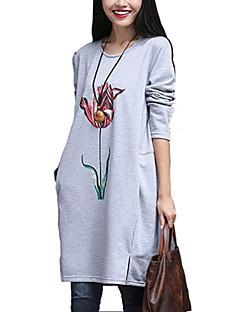 De las mujeres Floral Camiseta-Escote Redondo-Poliéster-Manga Larga