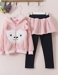 Girls' Casual/Daily Print Sets,Cotton Winter Long Sleeve Clothing Set
