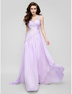 TS Couture Prom Formal Evening Dress - Elegant A-line Jewel Court Train Chiffon Tulle with Appliques Side Draping Ruching
