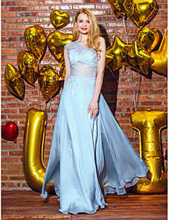 TS Couture® Formal Evening Dress A-line One Shoulder Floor-length Chiffon / Lace with Lace