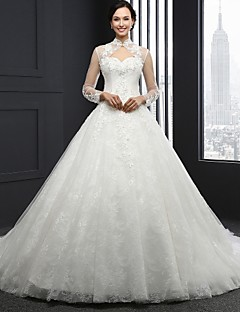 A-line Wedding Dress Vintage Inspired Chapel Train High Neck Lace with Beading