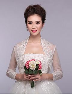웨딩 / 파티/이브닝 레이스 / 명주그물 볼레로 3/4 길이 소매 결혼식 랩