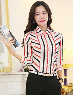 Mulheres Camisa Casual Plus Sizes Todas as Estações,Arco-Íris Colorido Poliéster Colarinho de Camisa Manga Longa Fina