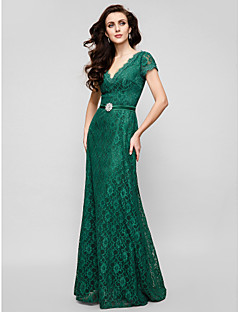 Formal Evening / Military Ball Dress - Plus Size / Petite A-line V-neck Floor-length Lace
