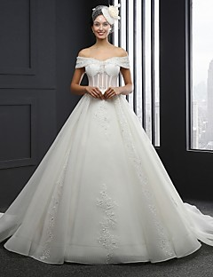 A-line Wedding Dress Chapel Train Strapless Tulle with Appliques