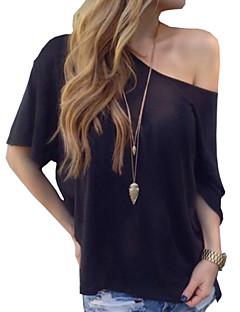 Boothals-Polyester-Blote rug-Vrouwen-T-shirt-Korte mouw