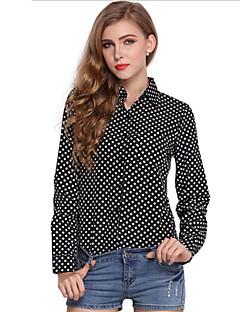 Vrouwen Eenvoudig / Street chic Zomer Overhemd,Werk Polka dot Overhemdkraag Lange mouw Wit / Zwart Polyester Dun