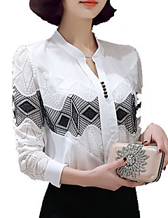 Women's Casual/Daily Simple Spring Blouse,Patchwork Stand Long Sleeve White Polyester Medium