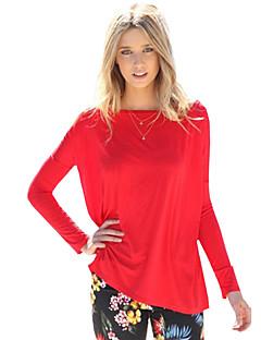 Vrouwen Eenvoudig Lente T-shirt,Casual/Dagelijks Effen Ronde hals Lange mouw Rood Polyester Medium