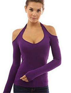 여성의 솔리드 홀터 넥 긴 소매 티셔츠,섹시 / 스트리트 쉬크 캐쥬얼/데일리 블루 / 레드 / 블랙 / 그린 / 퍼플 면 봄 얇음