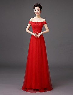 Floor-length Lace Bridesmaid Dress Sheath / Column Off-the-shoulder with Embroidery / Lace