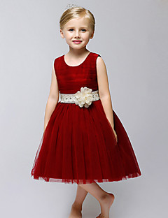 А-силуэт До колена Детское праздничное платье - Тюль Без рукавов Круглый вырез с